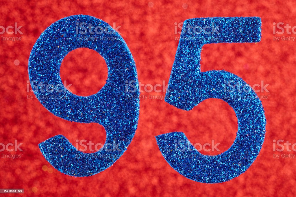 Number ninety-five blue color over a red background. Anniversary. stock photo