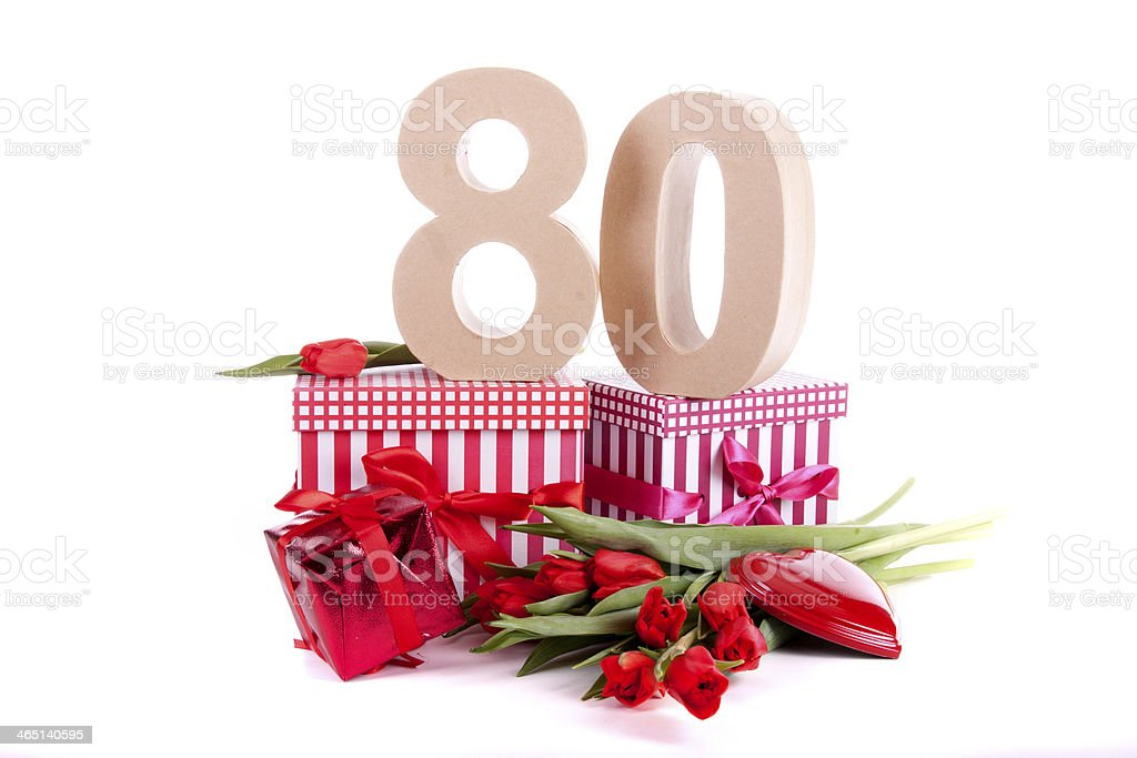 Number of age in a party mood stock photo