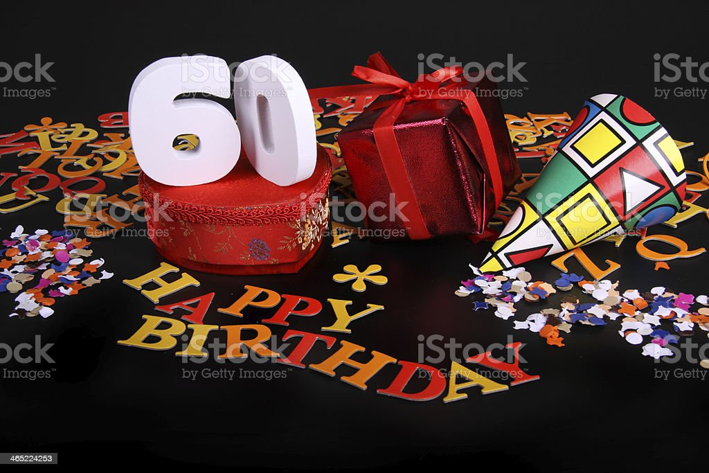 Number of age in an happy birthday card stock photo