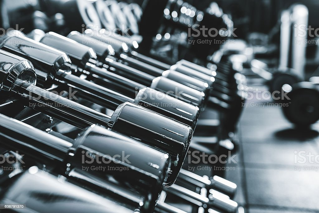 Number of lusted strong barbells stock photo