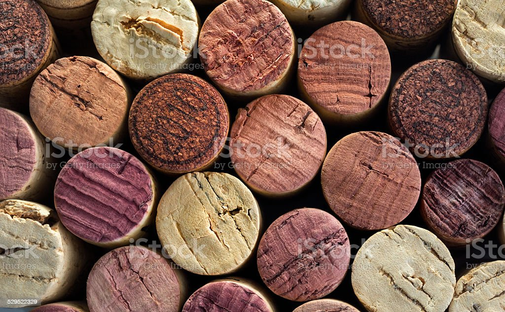number of Red wine corks stock photo