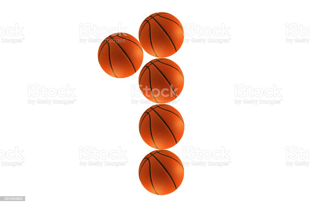 Number one, alphabet from basketball balls stock photo