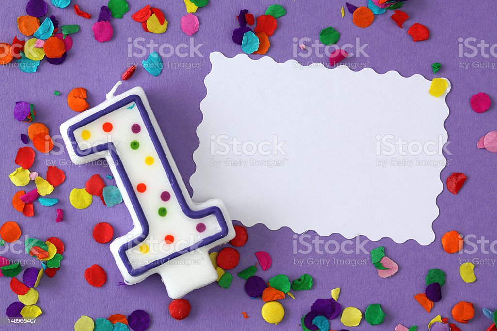 Number one birthday candle royalty-free stock photo