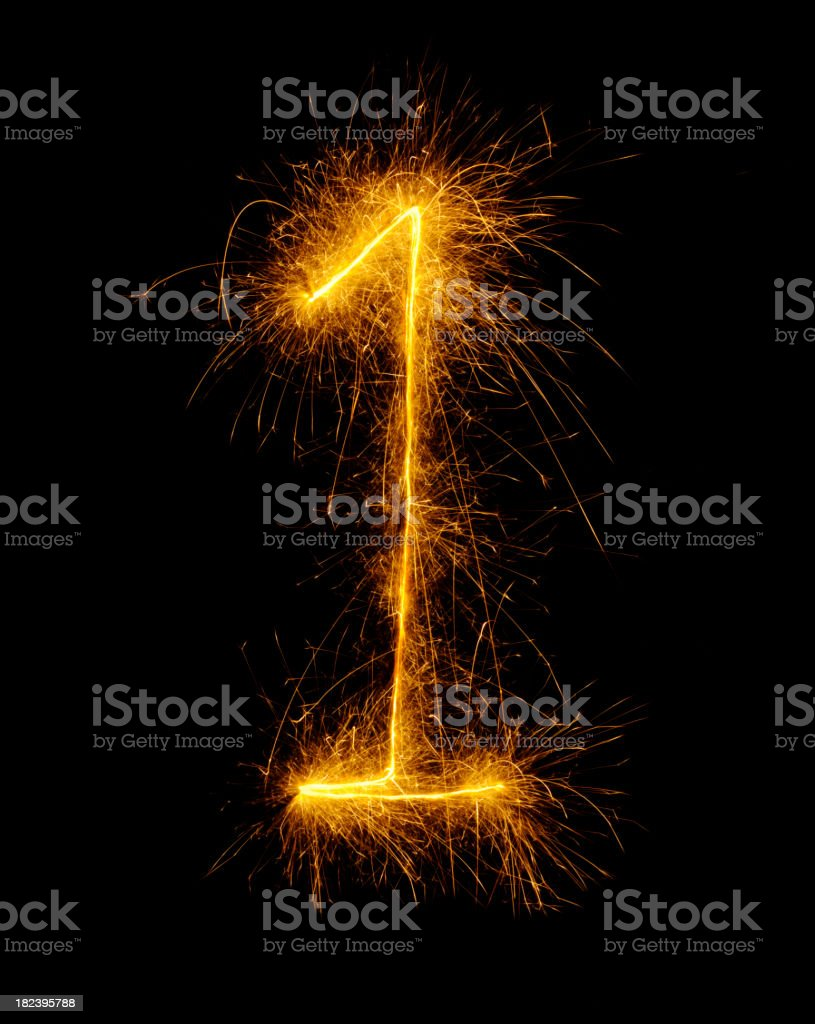 Number One Drawn in Fireworks royalty-free stock photo