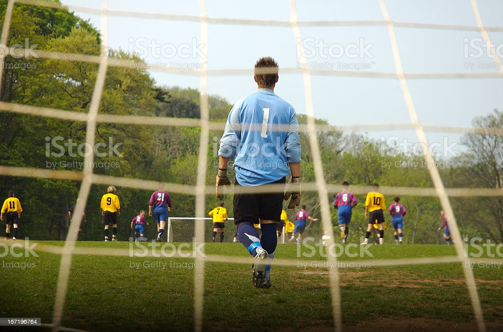 Number One Goalie Guards Soccer Football Goal stock photo