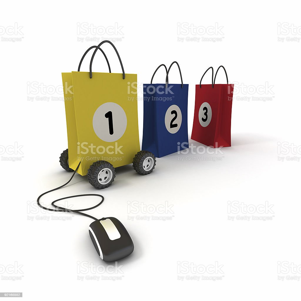 Number one in online shopping stock photo