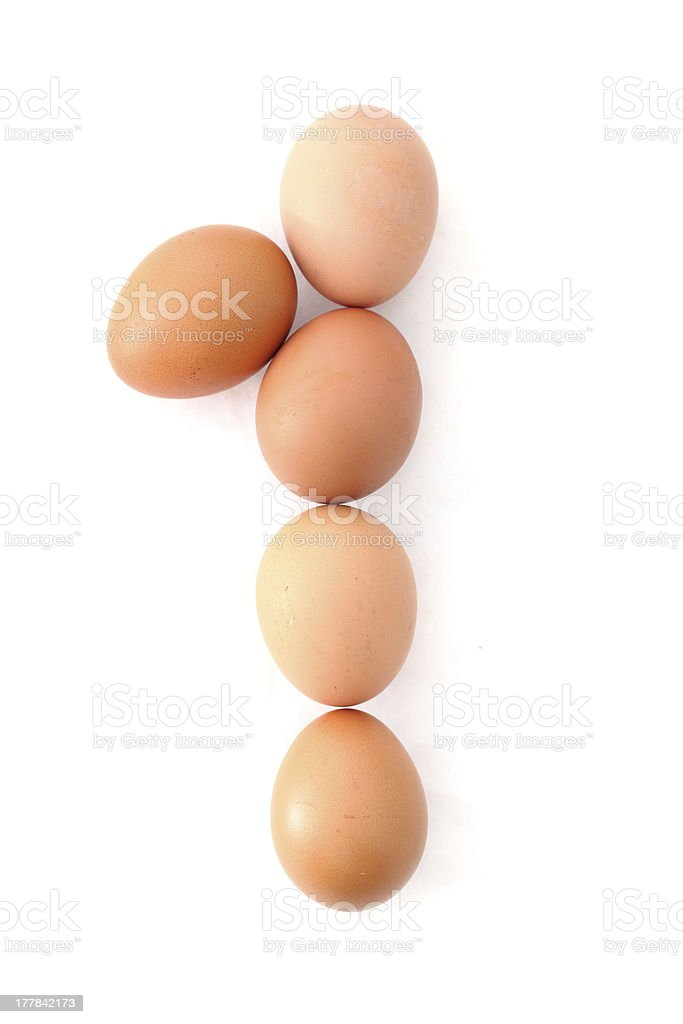 Number one made of Easter Eggs. Isolated on white. royalty-free stock photo