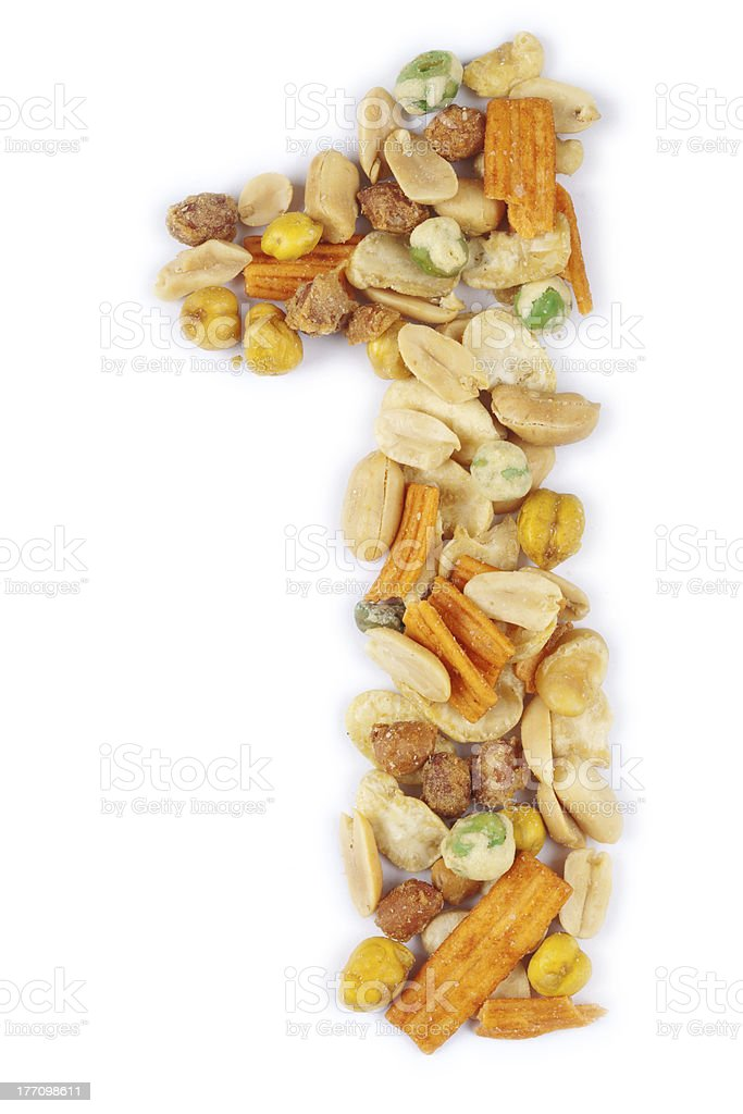 number one made with nut royalty-free stock photo