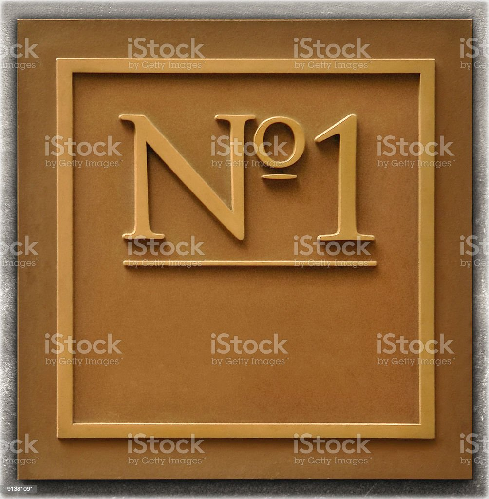 Number one Old Signage Plaque with No. 1 stock photo
