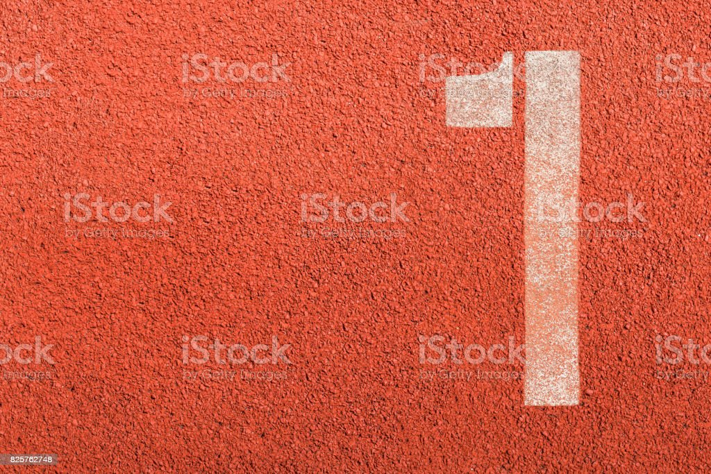 Number one running track rubber cover texture top view stock photo