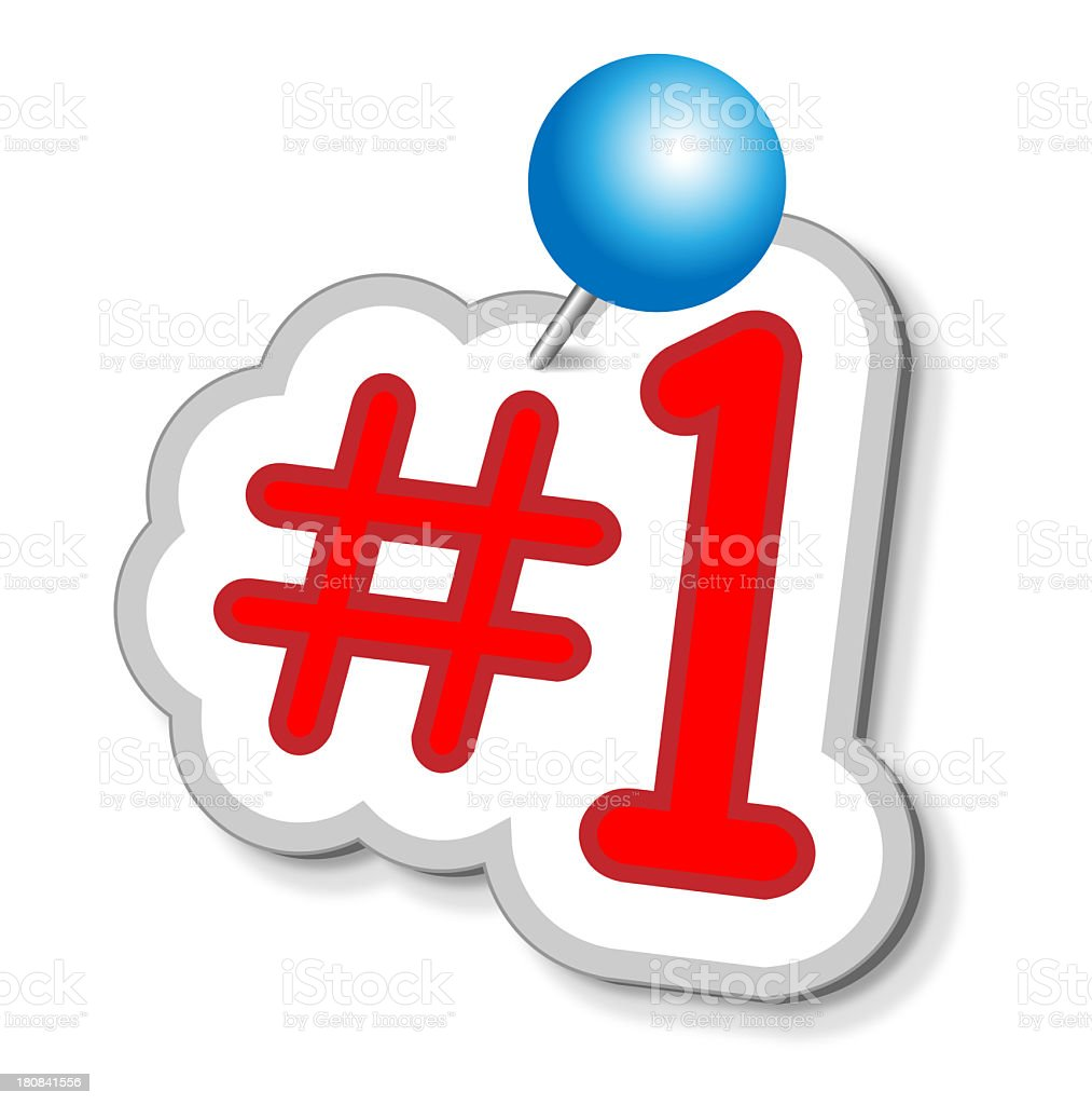 Number One Sticker With Push Pin royalty-free stock photo