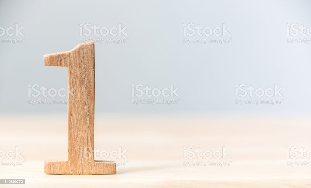 Number one wood material on table, Concept top winner success, Copy space stock photo