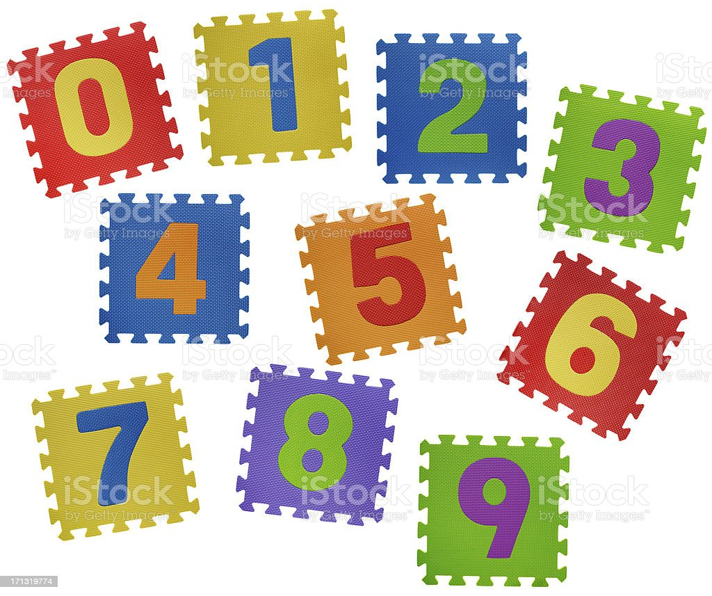 Number puzzles on white royalty-free stock photo