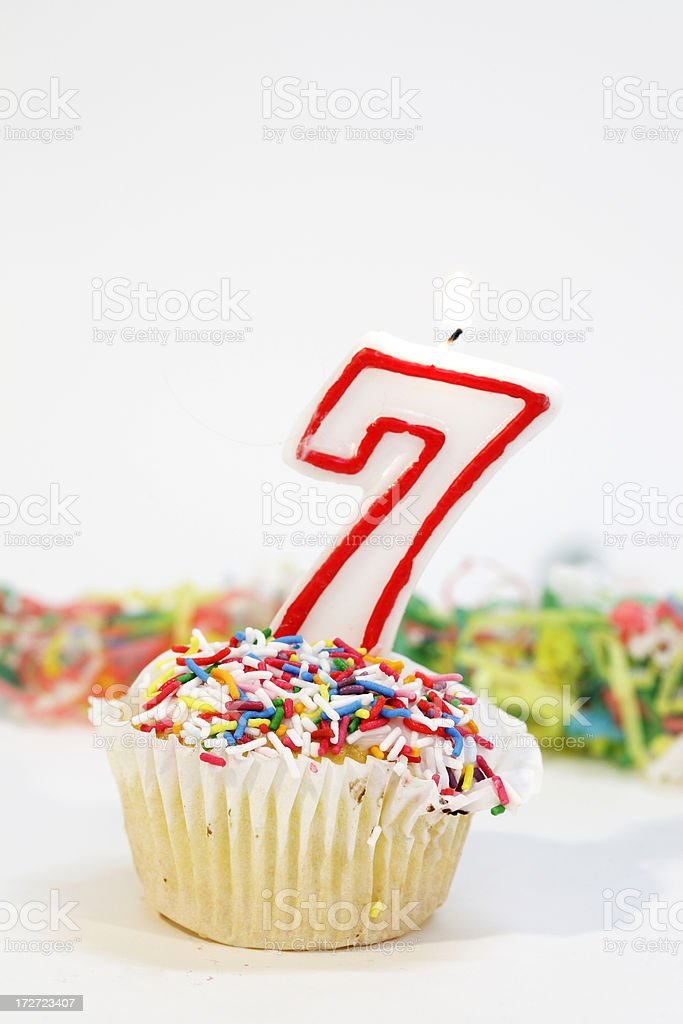 Number Seven Party Cake royalty-free stock photo