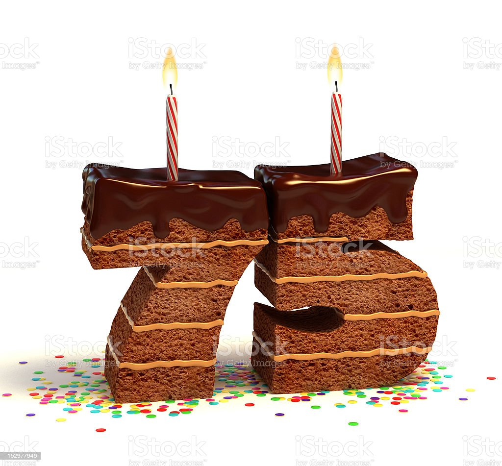 number seventy-five shaped chocolate cake stock photo