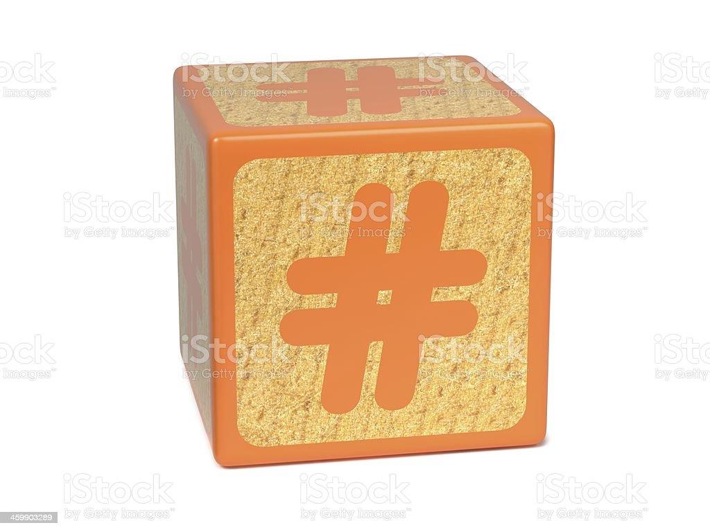 Number Sign - Childrens Alphabet Block. stock photo