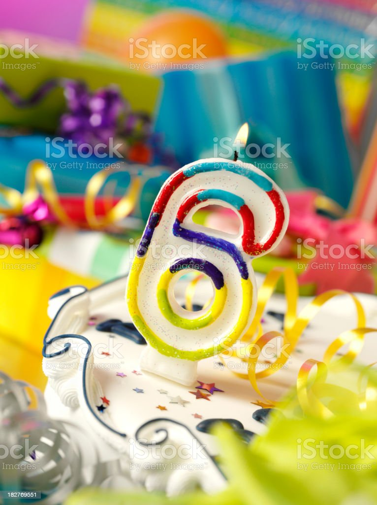 Number Six Birthday Candle stock photo