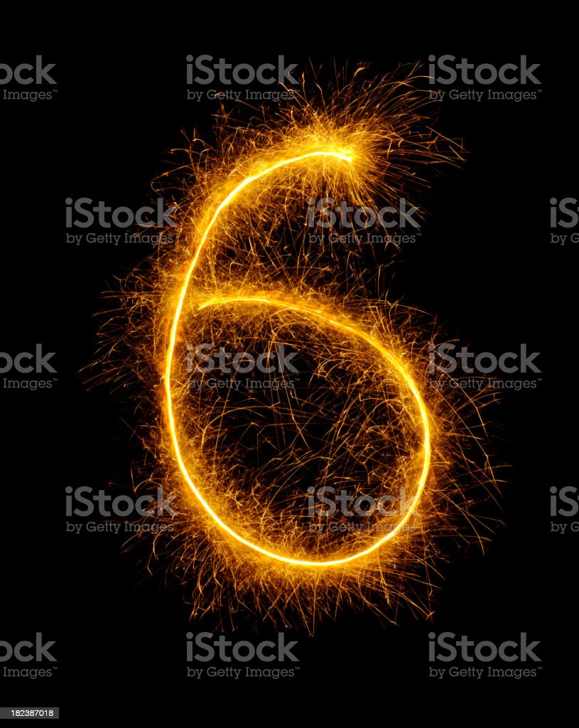 Number Six Drawn in Fireworks royalty-free stock photo