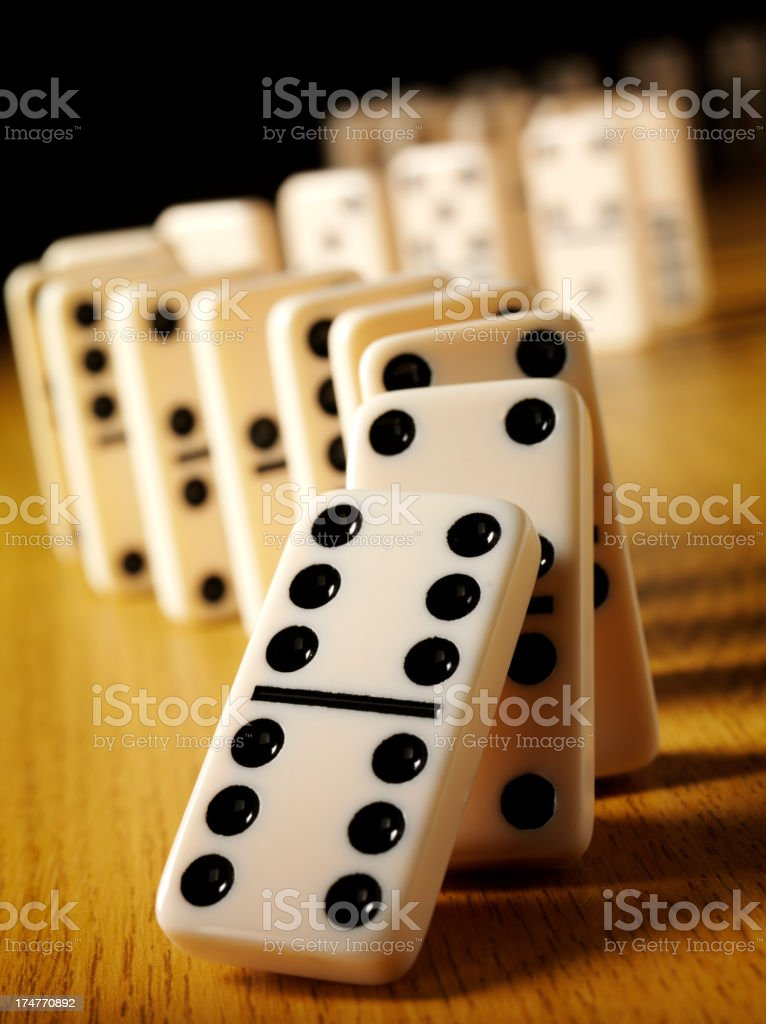 Number Six on a Domino Effect royalty-free stock photo
