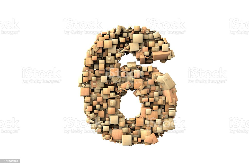 Number six shape  build with wood particles royalty-free stock vector art