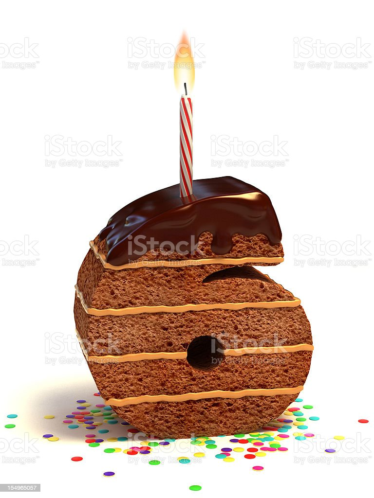 number six shaped chocolate cake stock photo