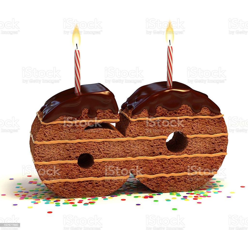 number sixty shaped chocolate cake stock photo