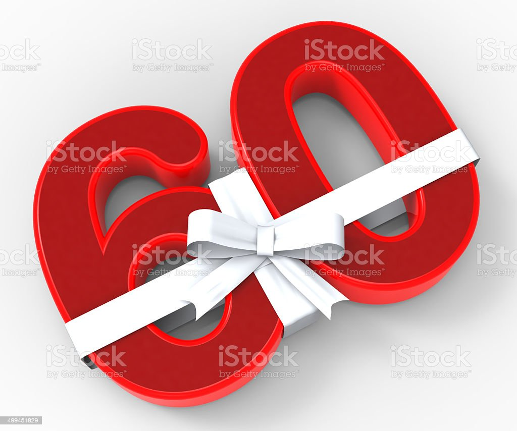 Number Sixty With Ribbon Means Wishing Happy Birthday Or Congrat stock photo