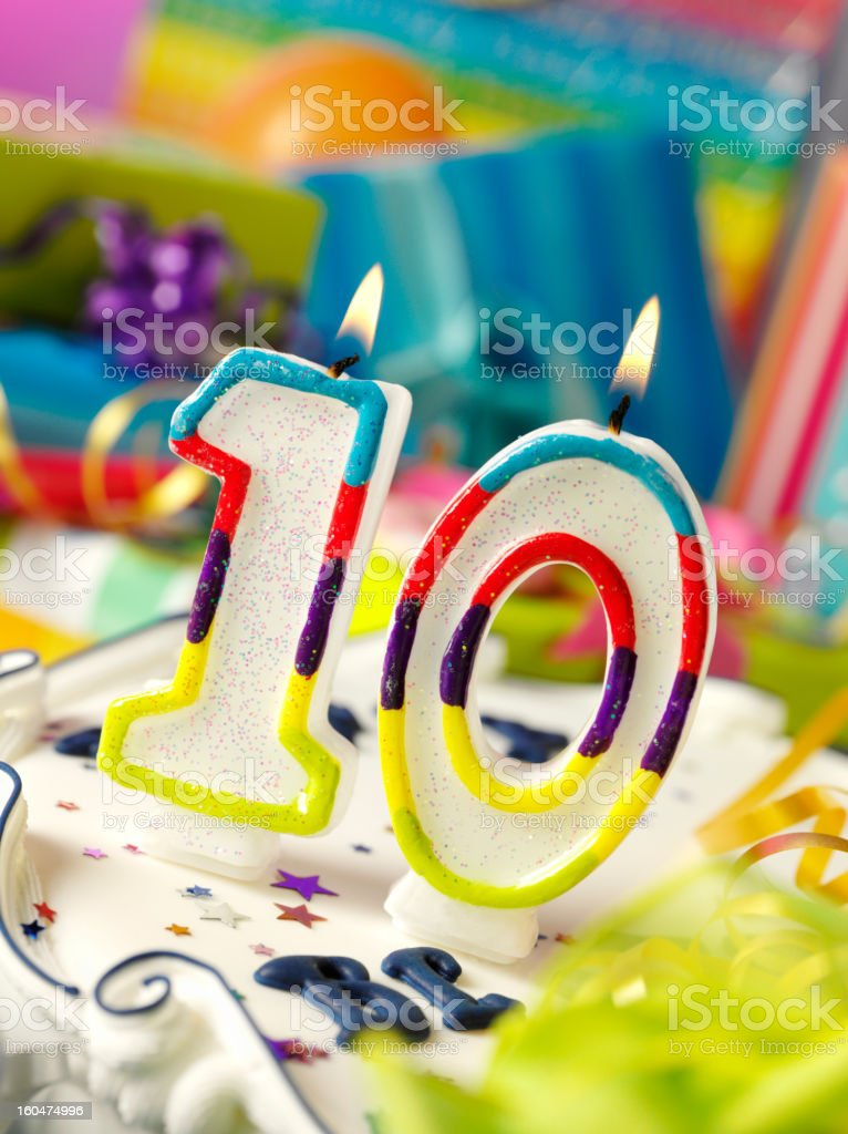 Number Ten Birthday Candle royalty-free stock photo