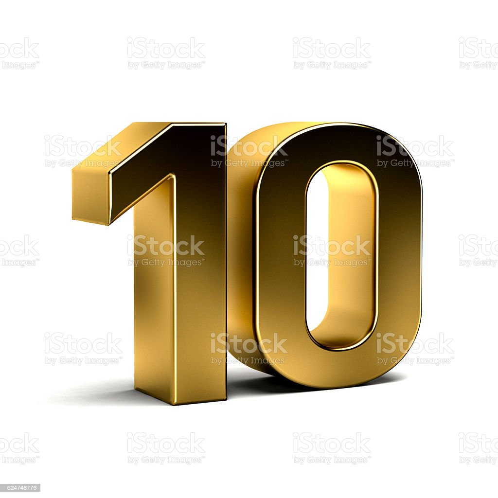 Number Ten Golden 3D Render Illustration stock photo