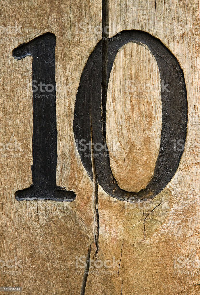 Number ten on cracked board royalty-free stock photo