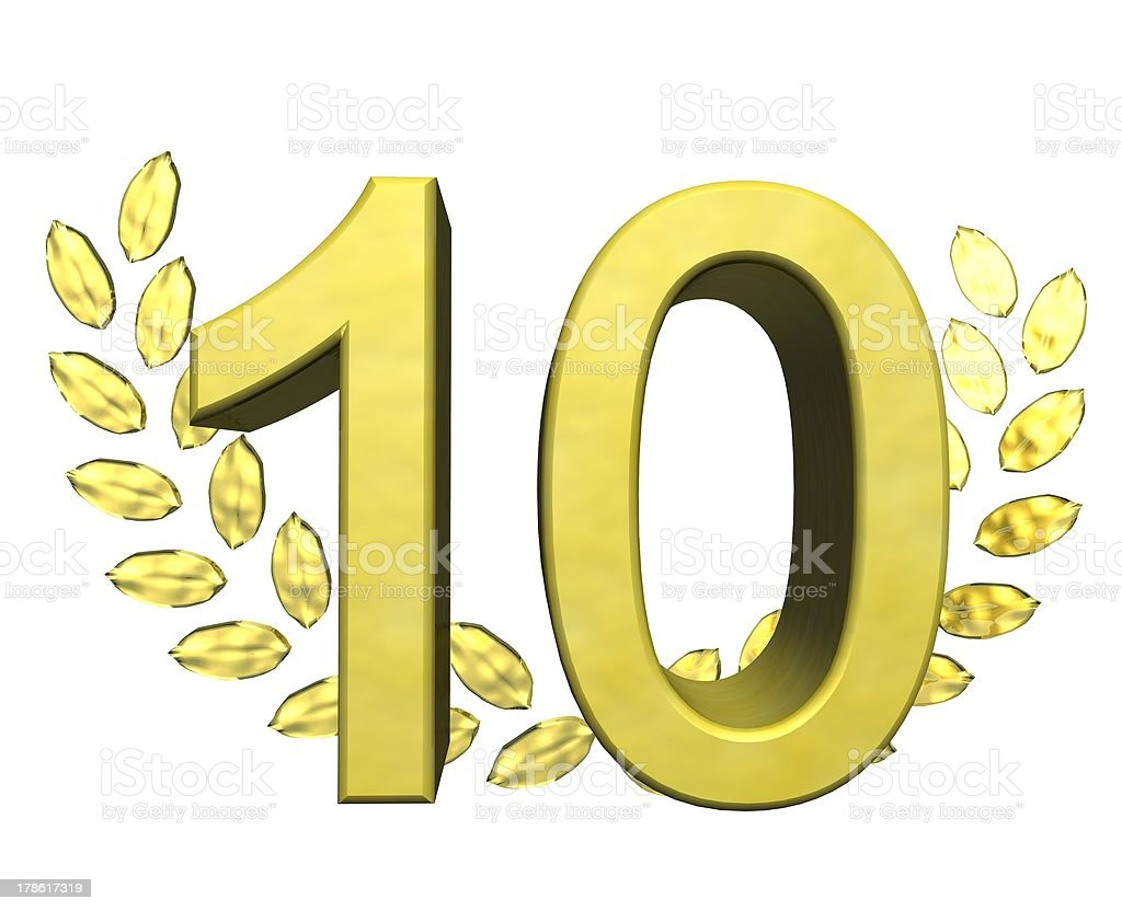 number ten with laurel wreath royalty-free stock photo