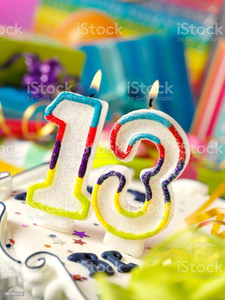 Number Thirteen Birthday Candle stock photo