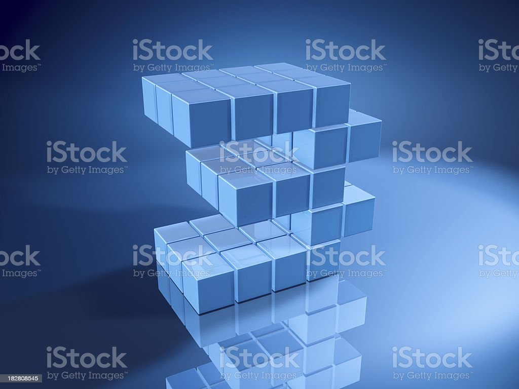 Number Three Blue Cubes royalty-free stock photo
