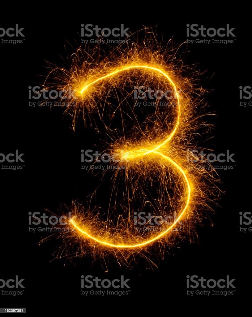 Number Three Drawn in Fireworks royalty-free stock photo