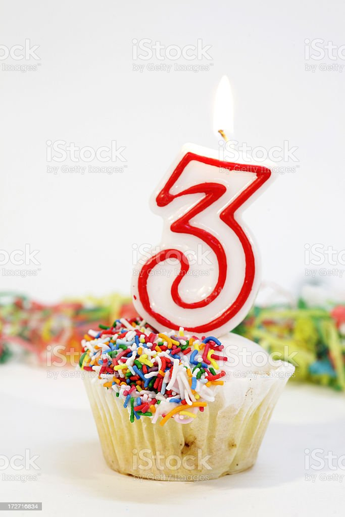 Number Three Party Cake royalty-free stock photo