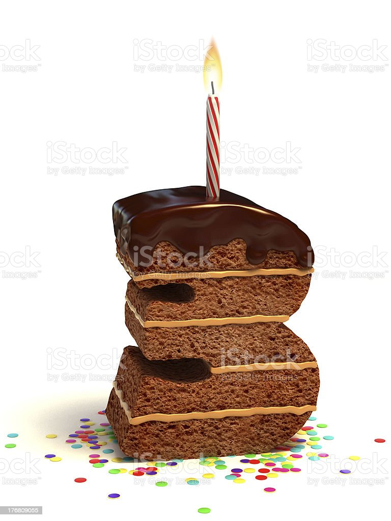 number three shaped chocolate cake royalty-free stock photo