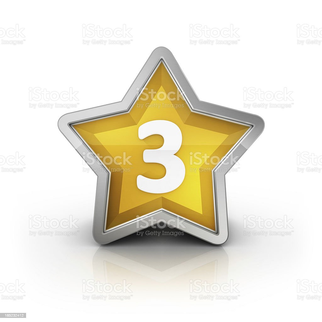 number three star glossy icon royalty-free stock photo