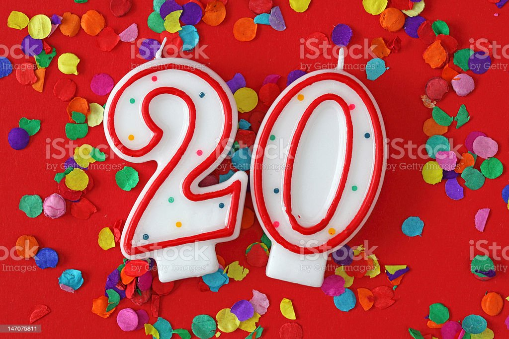 Number twenty birthday candle royalty-free stock photo