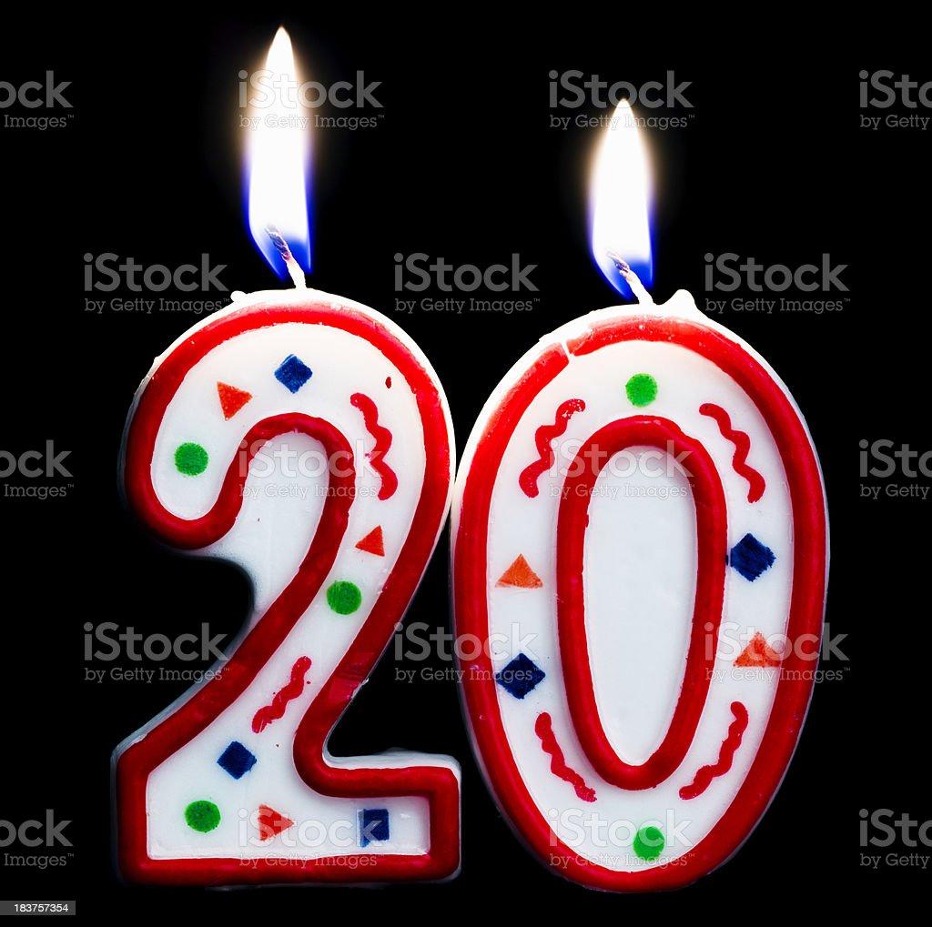 number twenty birthday candle royalty-free stock photo