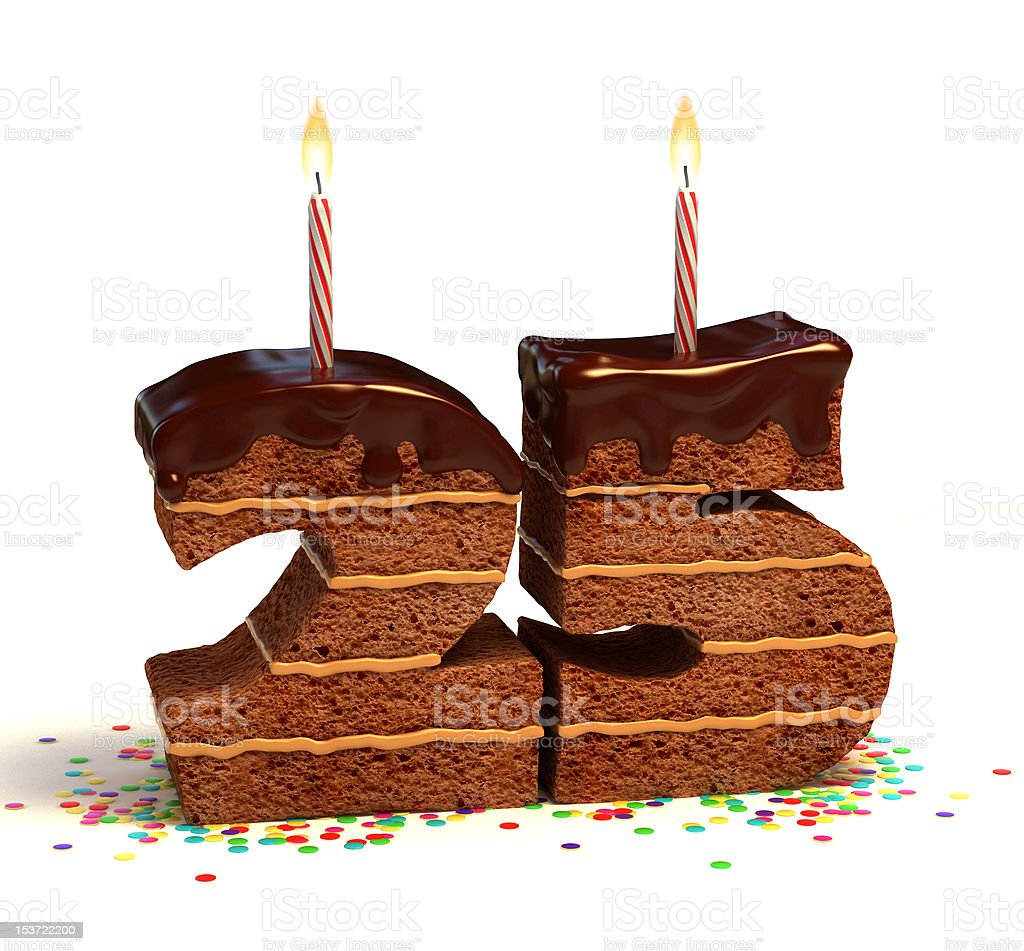 number twenty five shaped chocolate cake stock photo