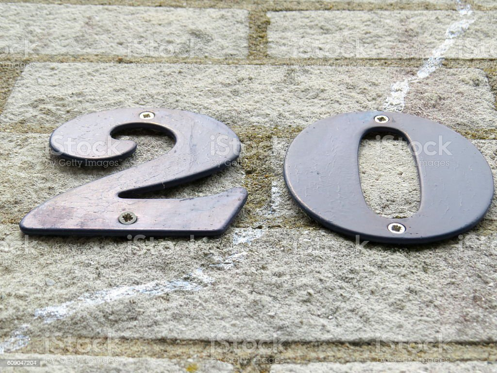Number twenty on the wall stock photo