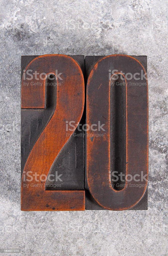 Number twenty royalty-free stock photo