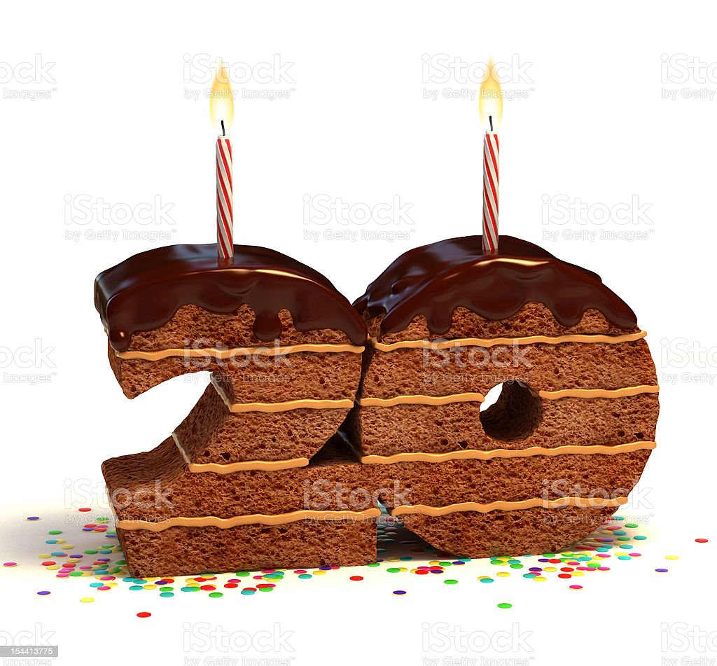 number twenty shaped chocolate cake stock photo