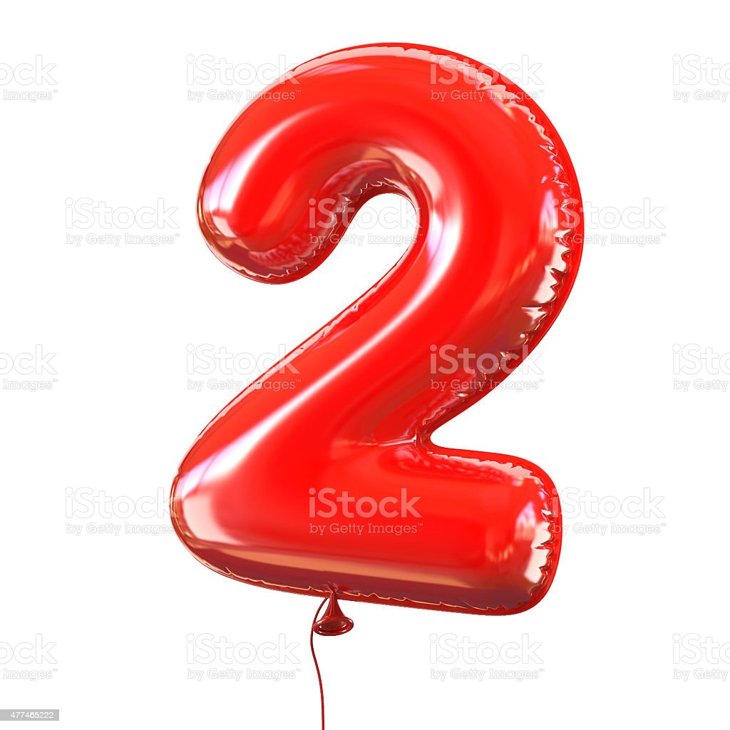 Number two - 2 balloon font stock photo