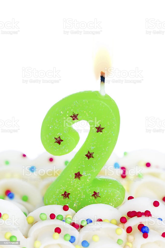 Number two candle stock photo
