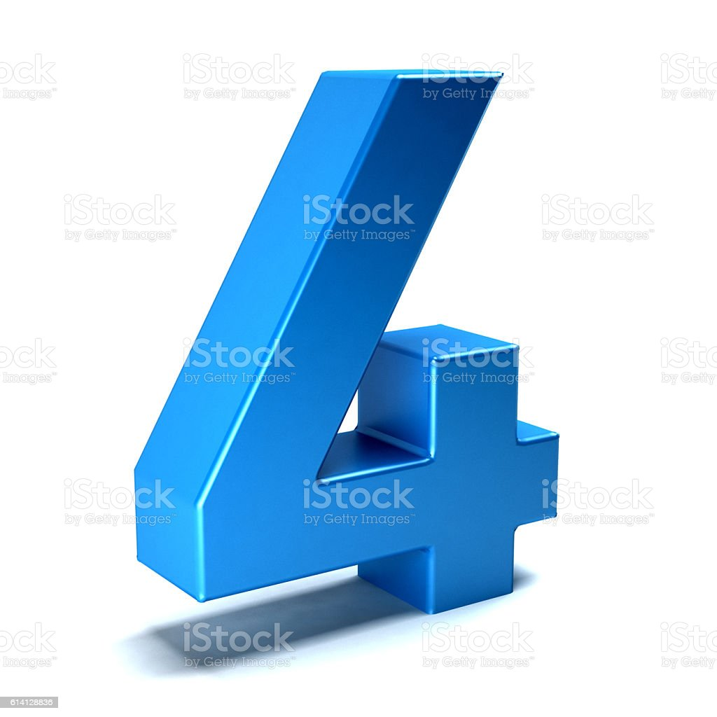 Number Two Color Blue Icon. 3D Render Illustration stock photo