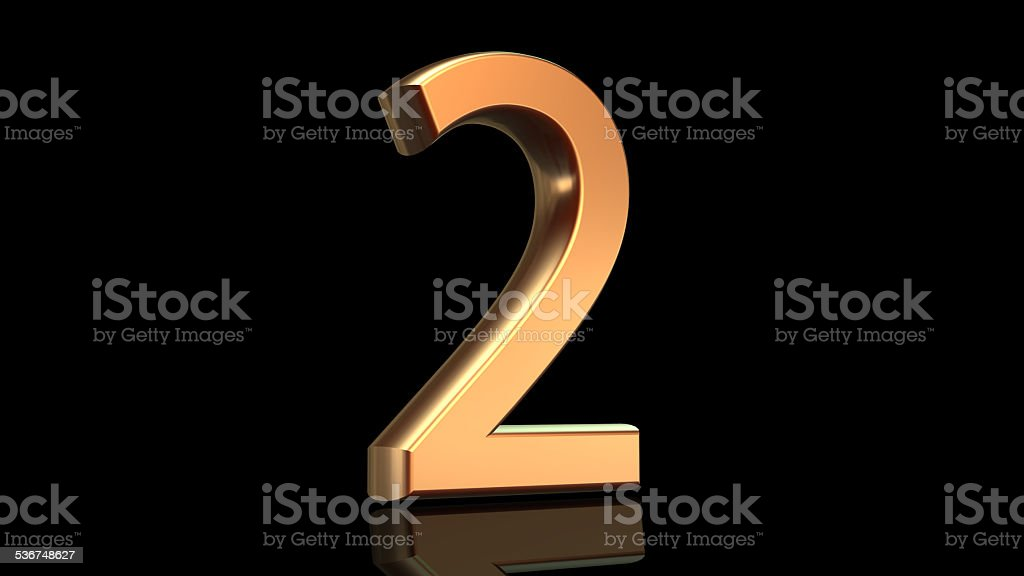Number two, second anniversary stock photo