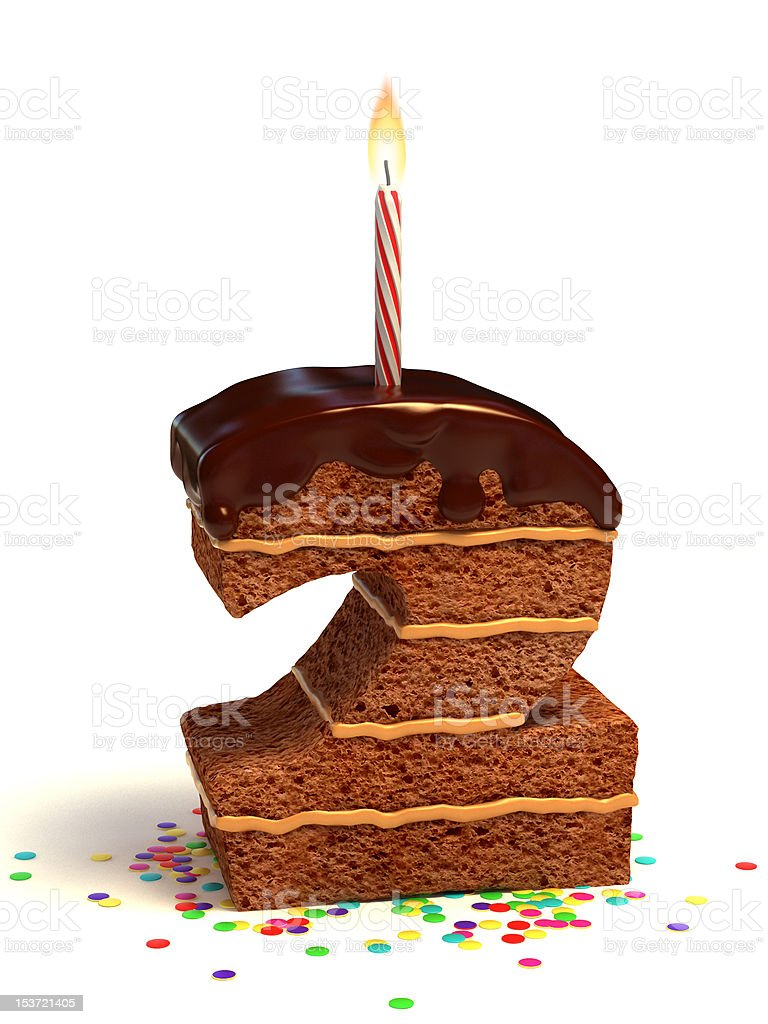 number two shaped chocolate cake royalty-free stock photo