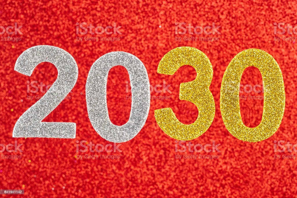 Number two thousand and thirty over a red background. Anniversary. stock photo