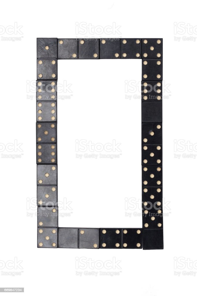 number  zero made of  black  dominoes tiles isolated stock photo